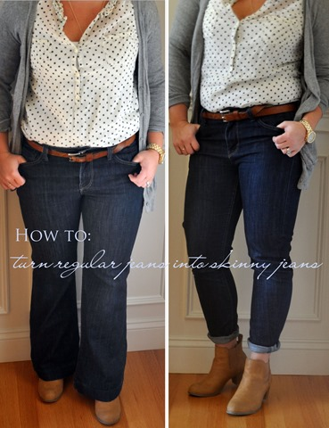 how to: turn regular jeans into skinny jeans - Three Wooden Spoons