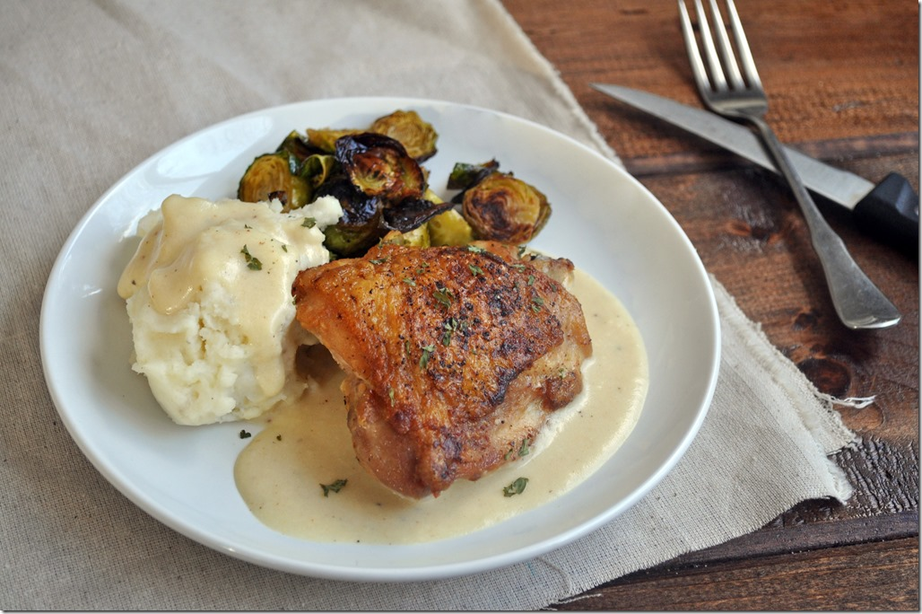 Pan-Roasted Chicken Thighs with Creamy Gravy - Three Wooden Spoons