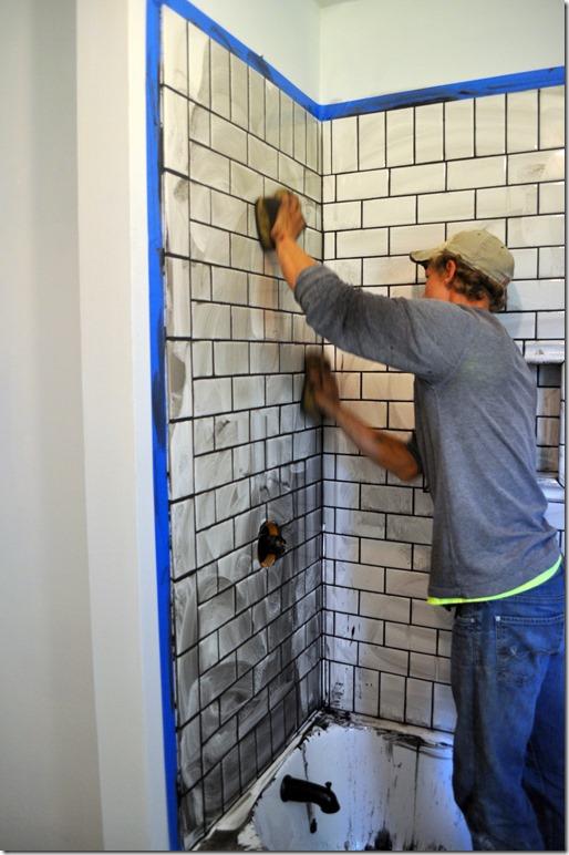 grouting subway tiles